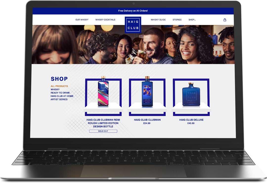 Haig Club website on laptop screen.
